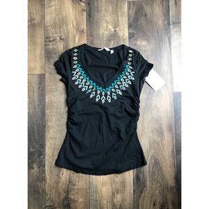 Athleta Tahoe Black T Shirt Falling Feather